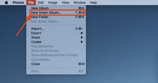 Create Smart Albums in Photos Menu