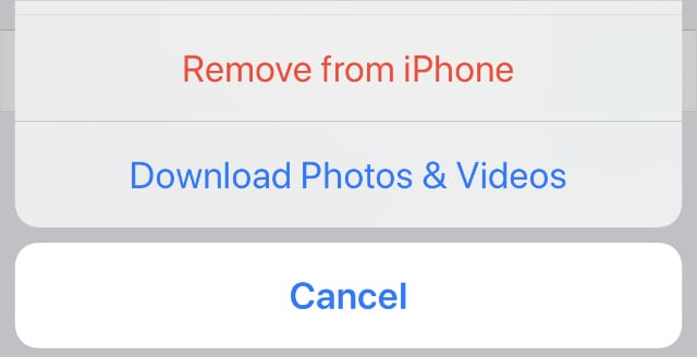 Download Photos & Videos option from iPhone settings