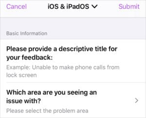 Feedback Assistant iOS app