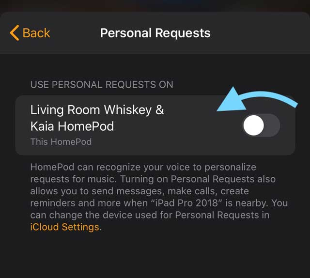toggle off personal request for HomePod