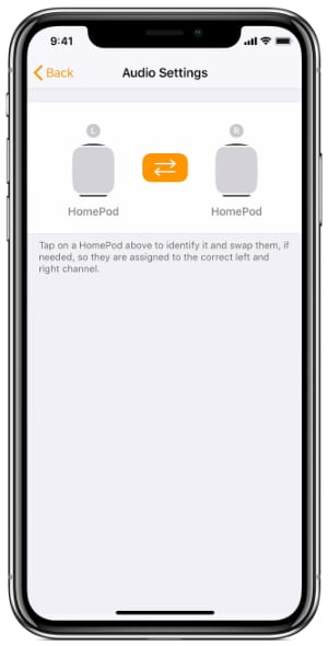 HomePod set left and right for stereo pair