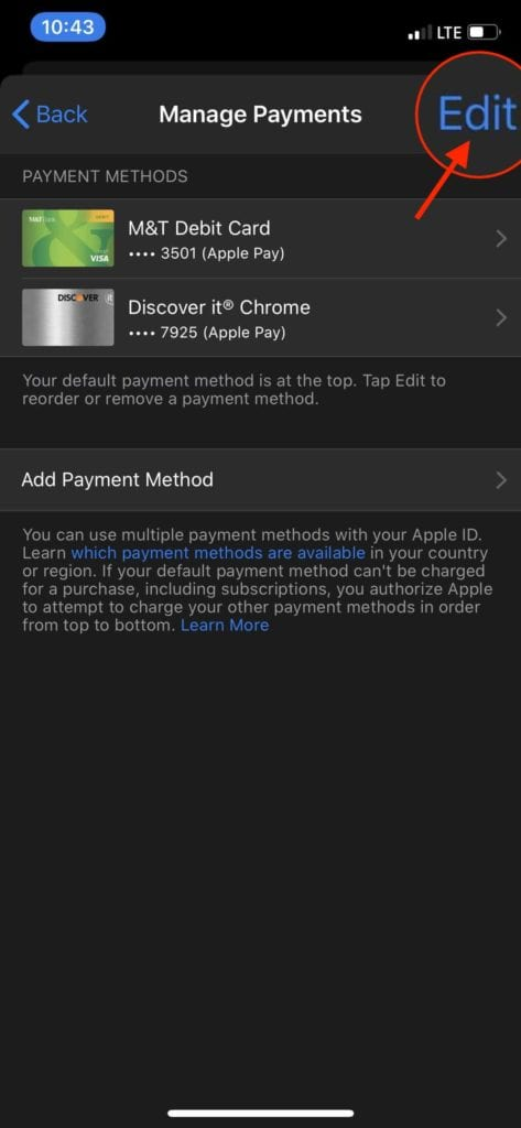 Remove Payment Information App Store 3