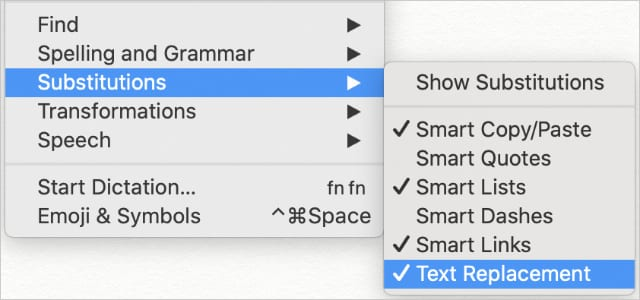 Text Replacement option from Substitutions in Edit dropdown menu