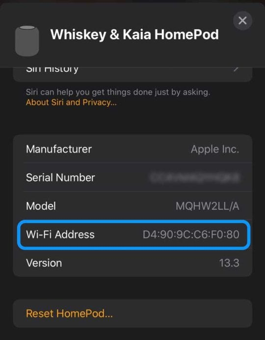 HomePod settings for wifi
