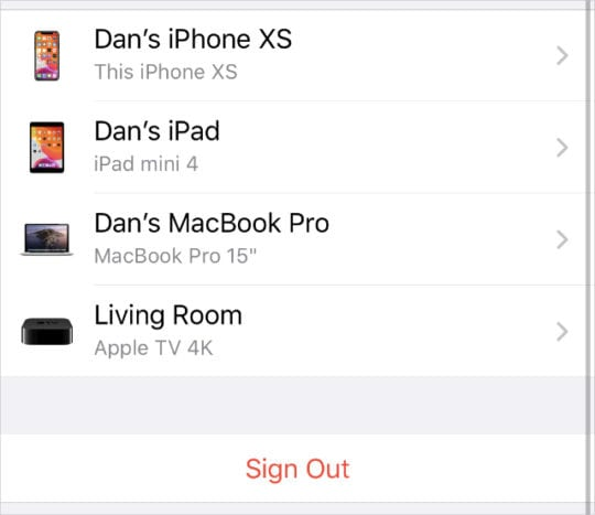 iCloud Sign Out button beneath list of devices