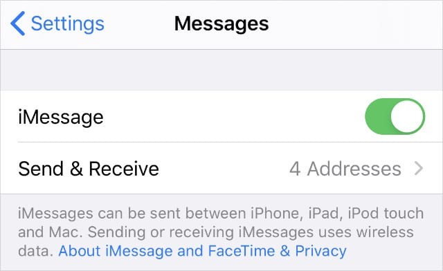 iMessage Send & Receive option from iPhone settings