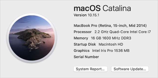 macOS Catalina About This Mac window