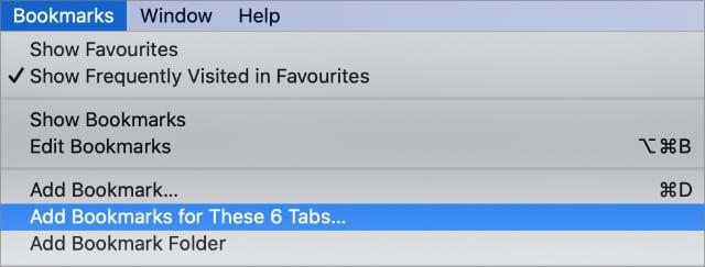 Add Bookmarks for Multiple tabs option in Mac Safari