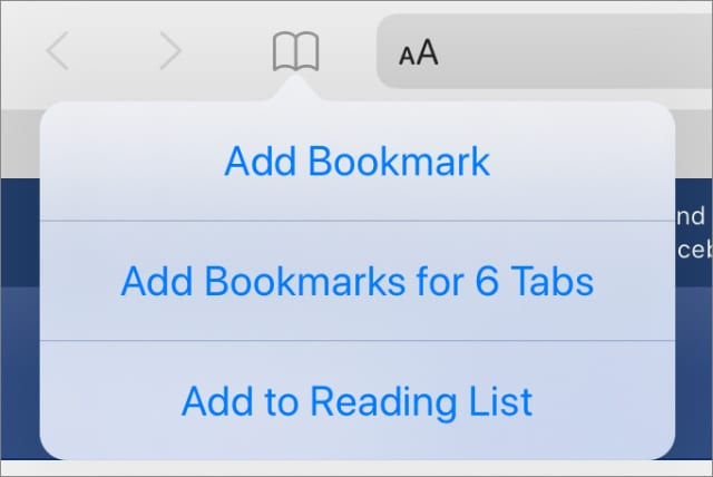 Add Bookmarks for multiple tabs option in Safari