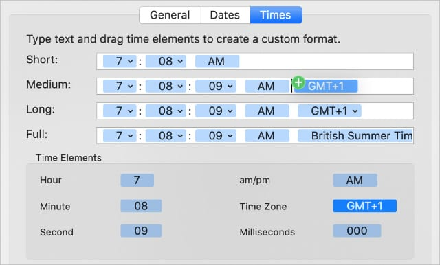Adding time zone to Medium time format in System Preferences