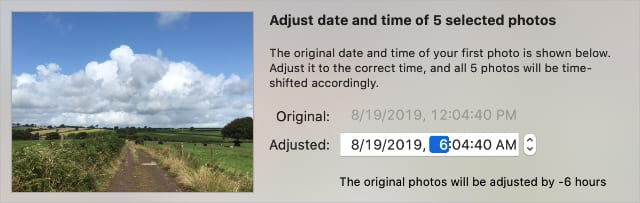 Adjust date and time window for several photos on a Mac