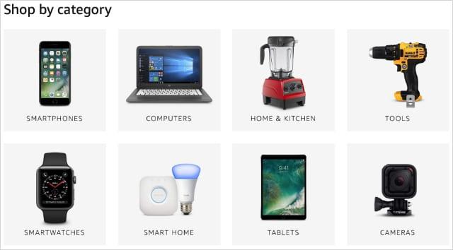 Amazon Renewed Shopping Categories