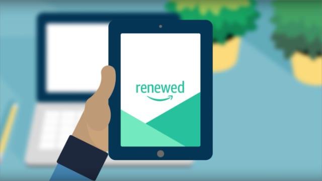 Amazon Renewed animation with person holding iPad