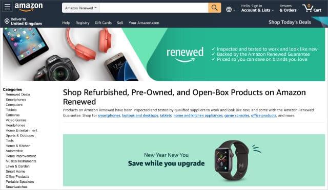 Amazon Renewed website