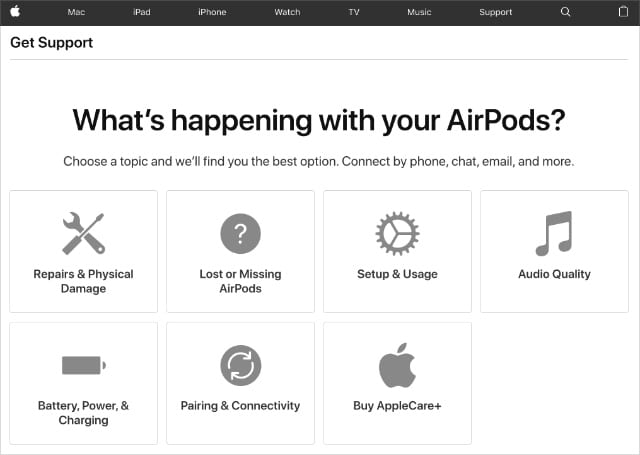 Apple AirPods Support webpage showing Lost or Missing AirPods option