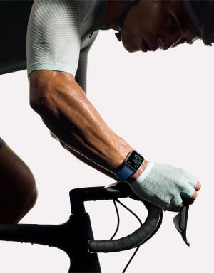 Apple Watch on a cyclist's sweaty arm