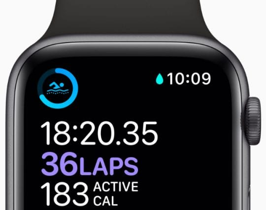 Apple Watch swim workout screen