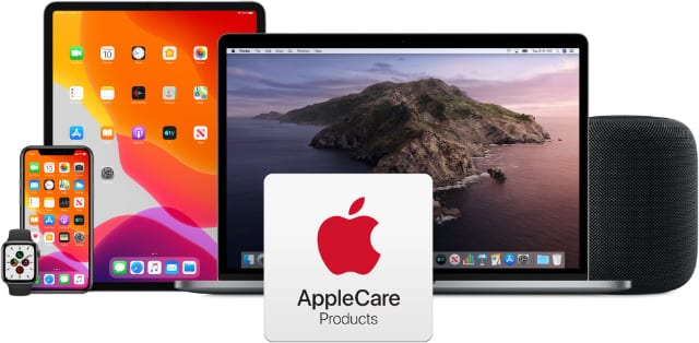 AppleCare logo with a range of Apple products