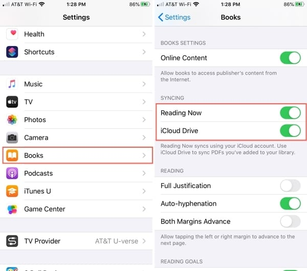 Settings for Books syncing iPhone