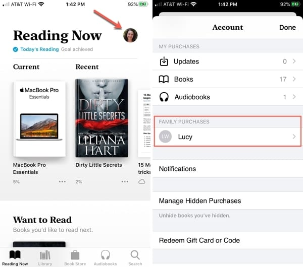 Family purchases in Apple Books app iPhone