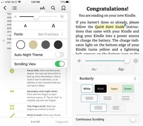 Apple Books vs. Kindle customizations