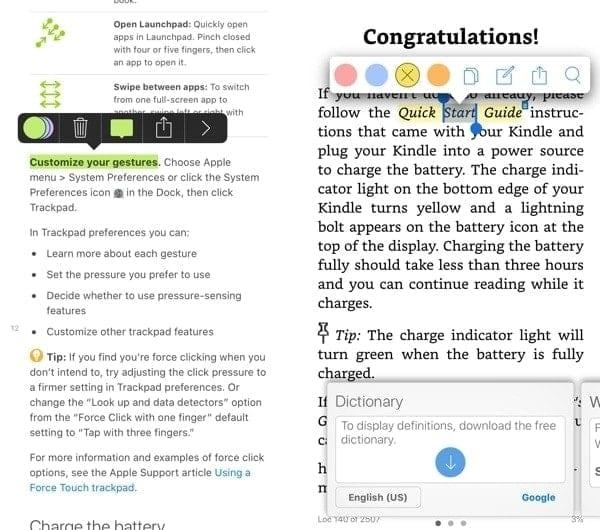 Apple Books vs Kindle highlights