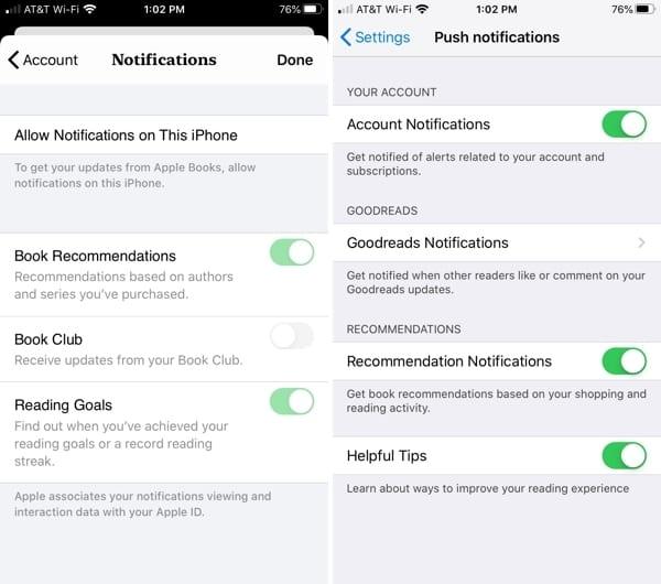 Apple Books vs. Kindle notifications