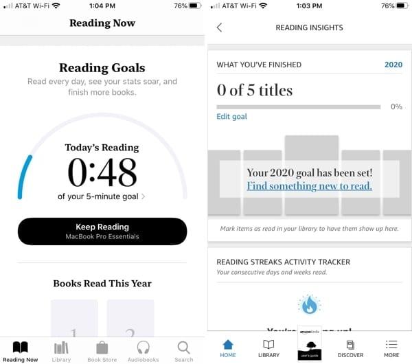 Apple Books vs. Kindle reading goals