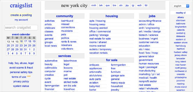 Craigslist home page showing range of different products