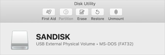 Erase and other buttons in Disk Utility window
