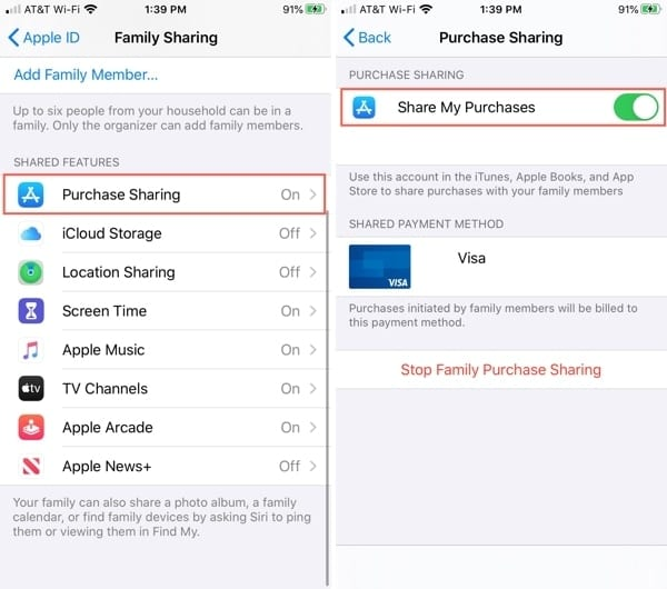 Enable Purchase Sharing iPhone