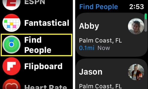 Find People on Apple Watch