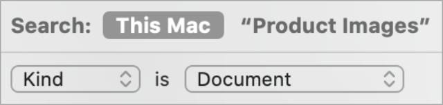 Finder Smart Folder search filters