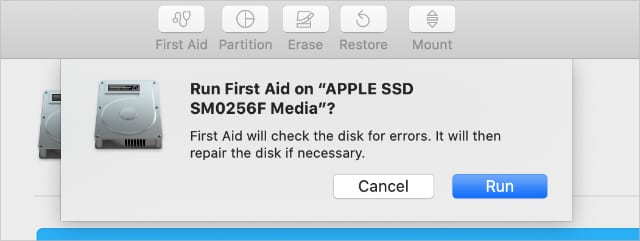 First Aid window from Disk Utility