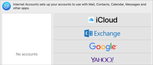 Internet Accounts with iCloud option in System Preferences
