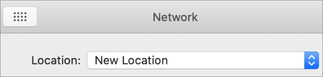 New Location option in System Preferences Network page