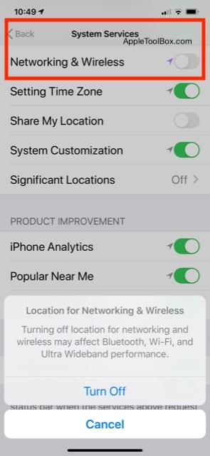 DISABLE Ultra wideband chip in iOS 13.3.1