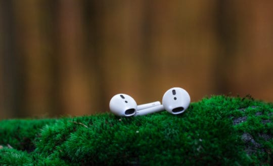 Pair of AirPods on mossy surface outdoors
