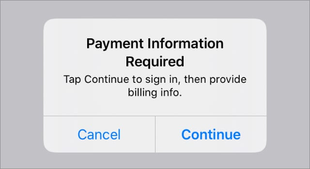 Payment Information required alert on iPhone