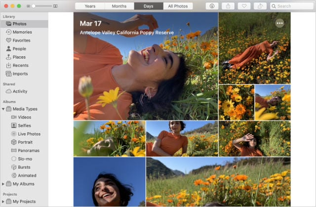 Photos app in mac with well organized photos