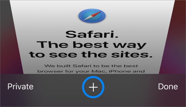 Safari New Tab Plus button to see recently closed tabs