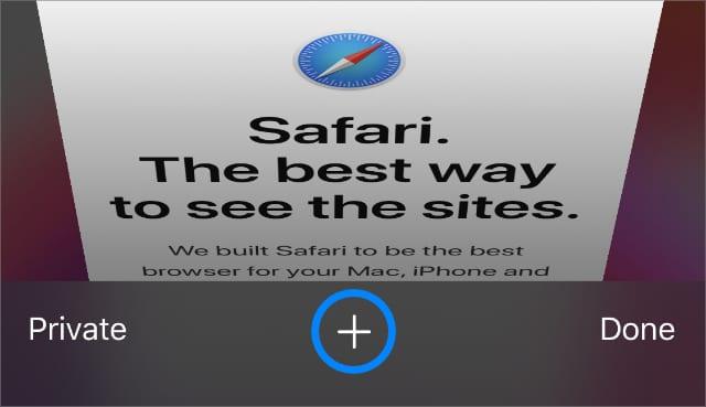 Кнопка Safari New Tab Plus для просмотра недавно закрытых вкладок