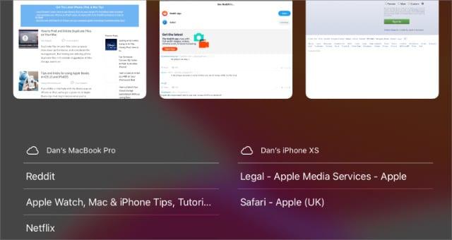 Safari Tabs on other Apple devices