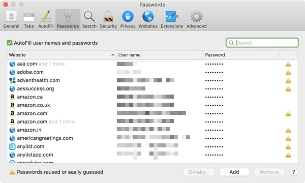 Safari Password List-Mac