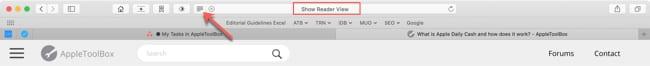 Safari Reader View button