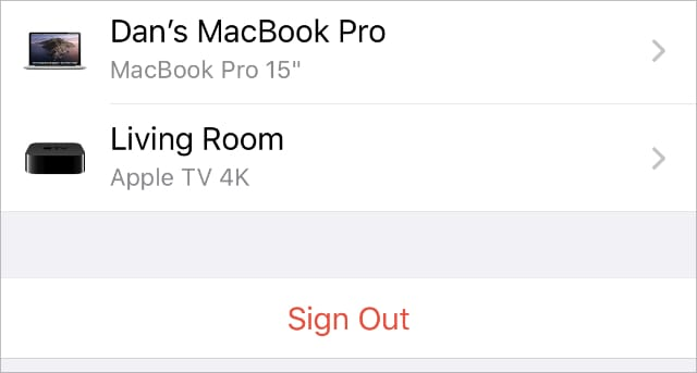 Sign Out option from iPhone Apple ID or iCloud settings