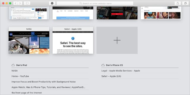 Вкладки с других устройств в Mac Safari