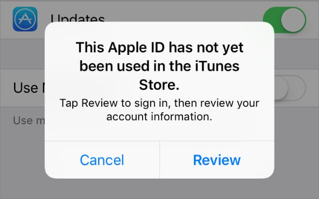 This Apple ID has not yet been used error message iPhone