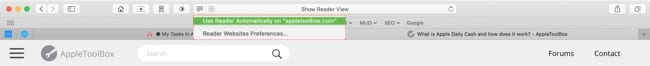 Enable Reader View for the current site