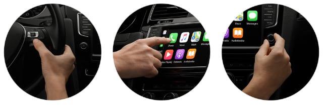 Various CarPlay actions in circular images